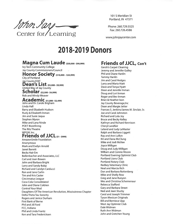 2018-2019 Donors