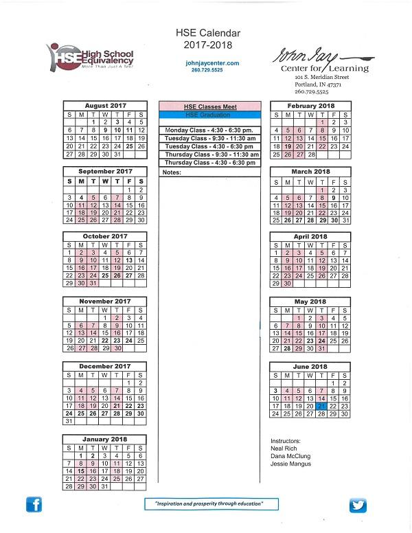 HSE Calendar 2017-2018