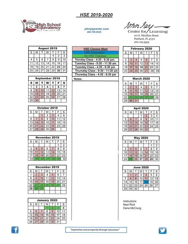 HSE Calendar 2019-2020