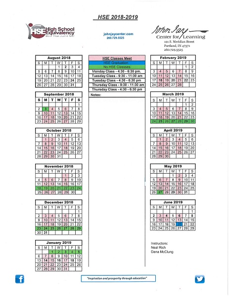 HSE Calendar 2018-2019
