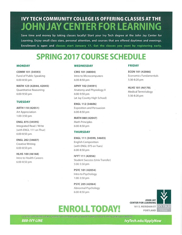 Ivy Tech Spring 2017 Registration
