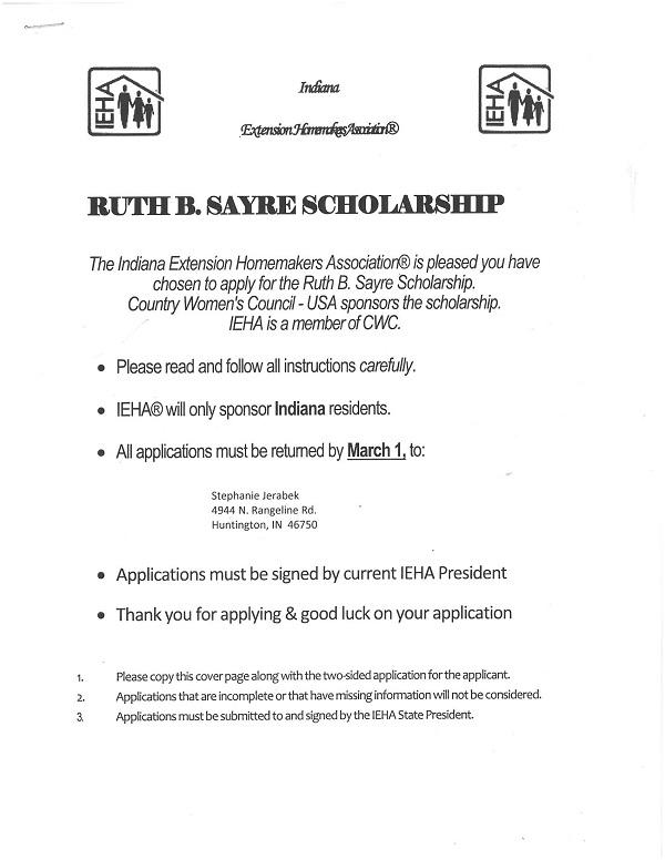 Ruth B. Sayre Scholarship / Career Advancement Scholarship