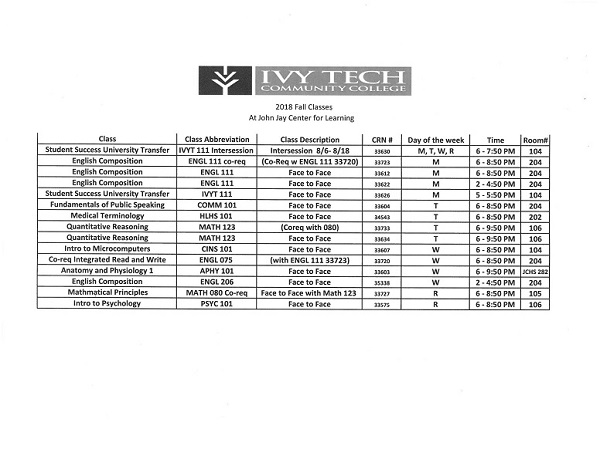 2018 Ivy Tech Fall Class Schedule
