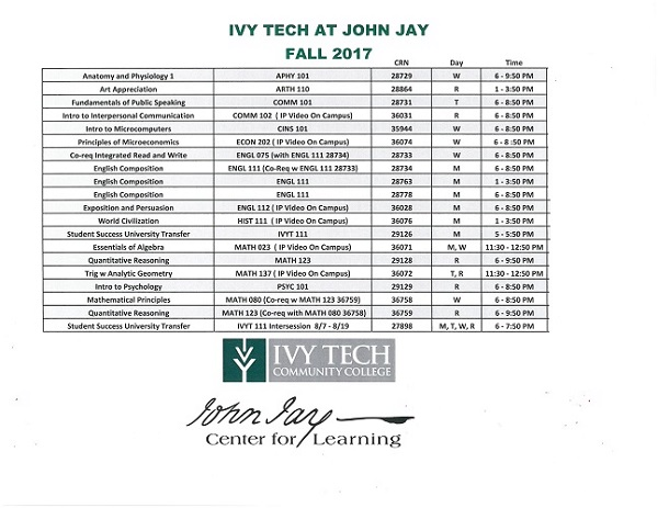 Ivy Tech 2017-2018 Fall Schedule
