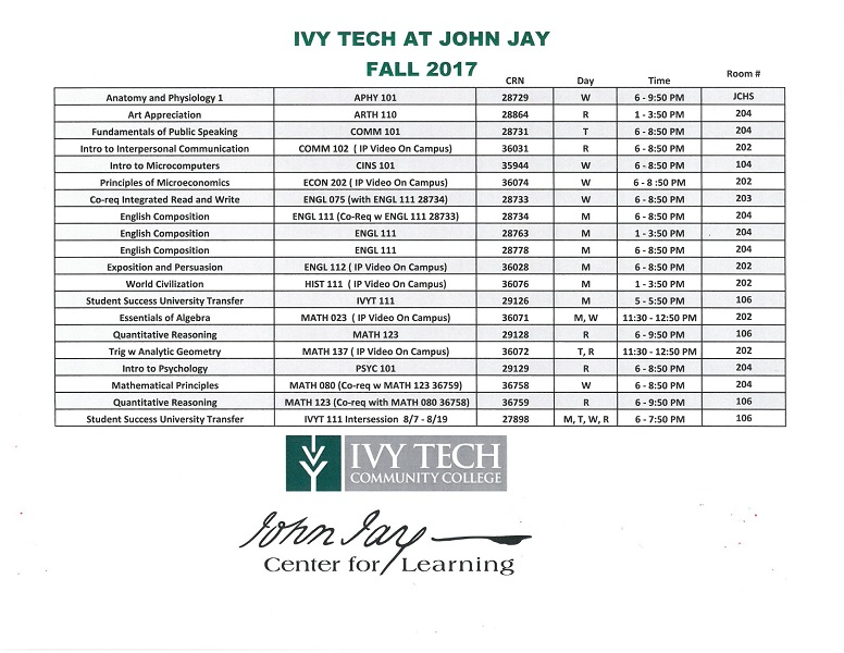 Ivy Tech Fall 2017 Registration