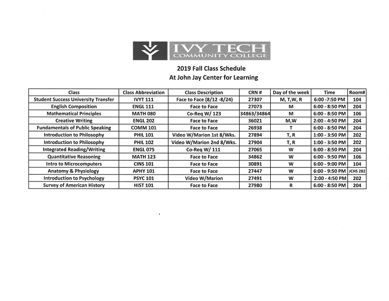 Ivy Tech Fall 2019 Class Schedule
