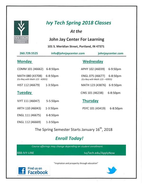 Ivy Tech Spring 2018 Class Schedule