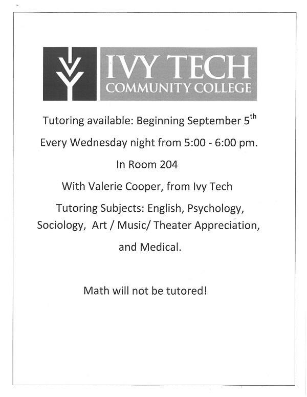 Ivy Tech Tutoring Schedule at John Jay Center