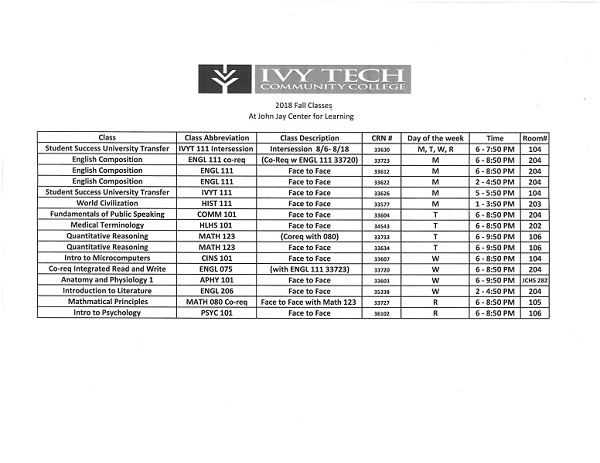 Ivy Tech Fall 2018 Class Schedule