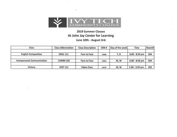 Marion Ivy Tech 2019 Summer Schedule