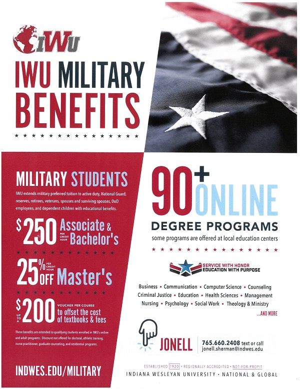 Indiana Wesleyan University Military Benefits