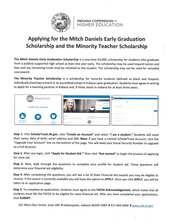 Mitch Daniels Early Graduation Scholarship 2018-2019