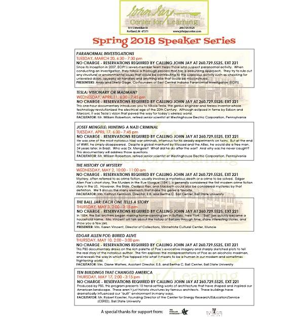 2018 Spring Speaker Series
