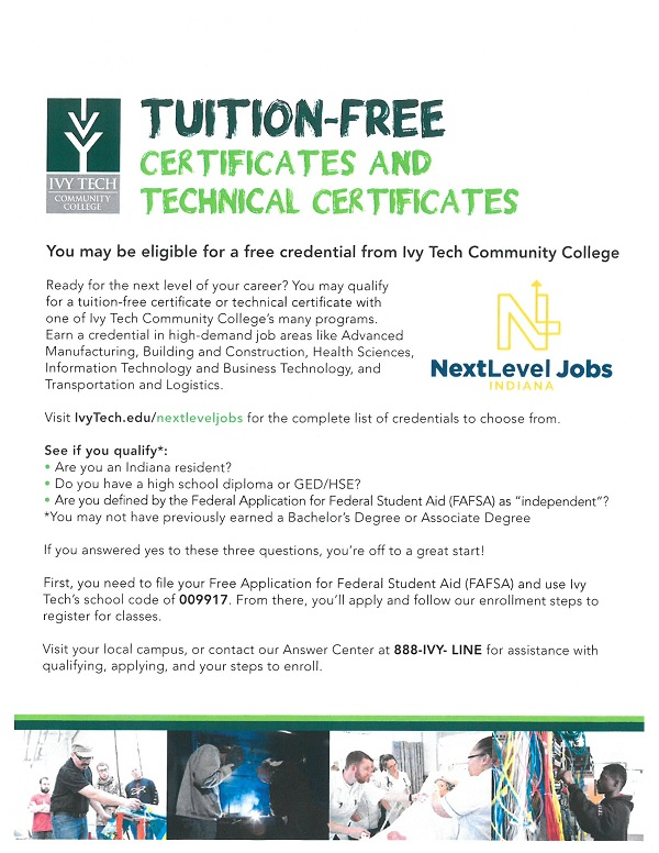 Tuition Free Certificates and Technical Certificates